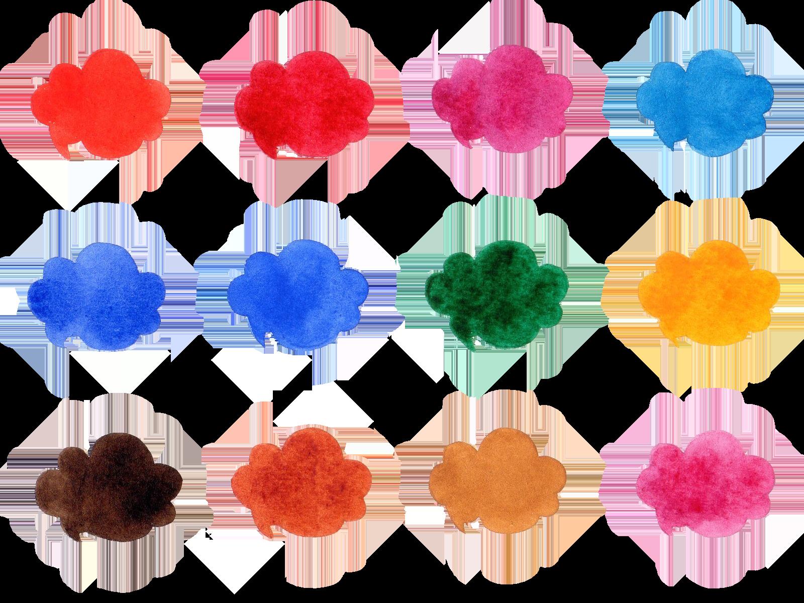 水彩で描いた吹き出しのイラスト素材