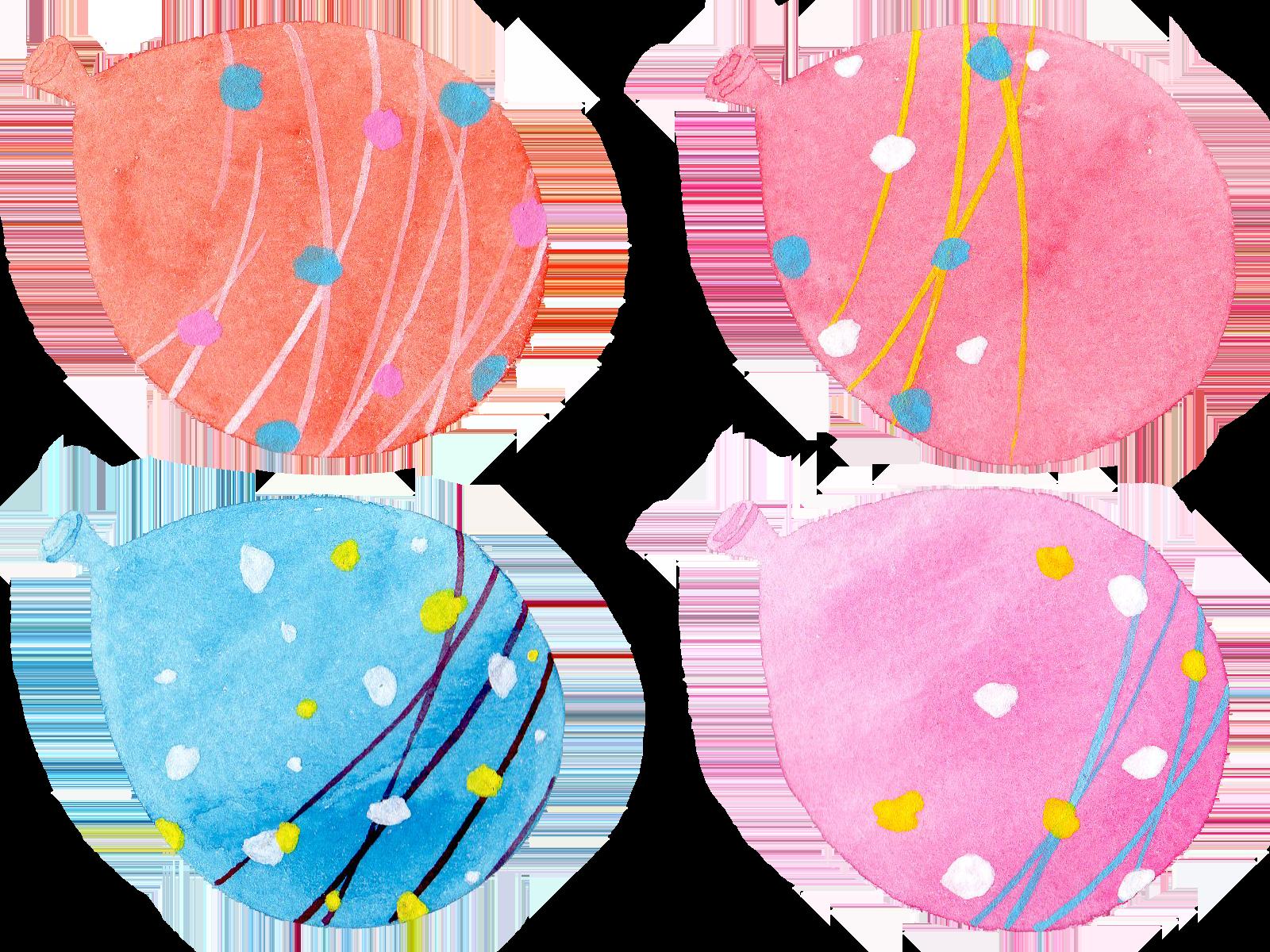 水彩で描いた水風船のイラスト