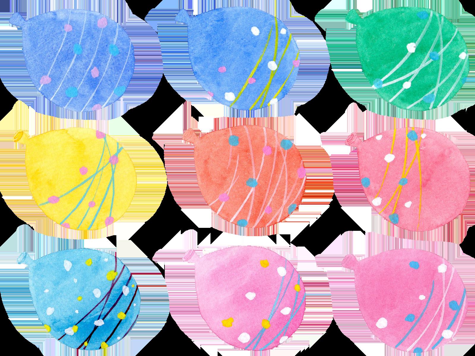 水風船の水彩イラスト素材