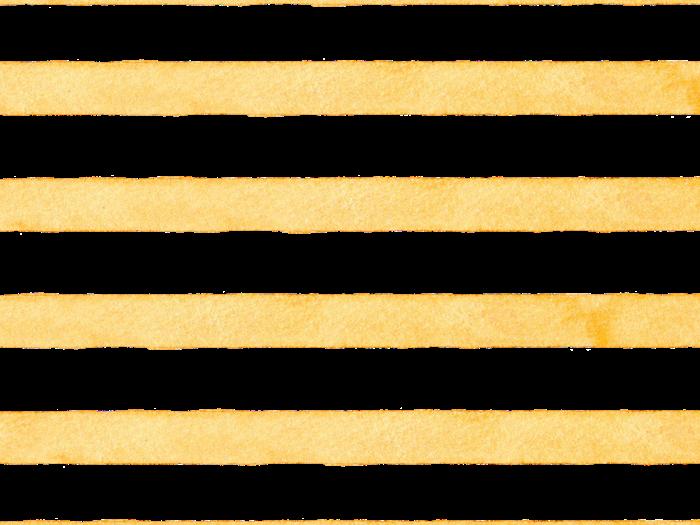 黄色のボーダーの水彩素材