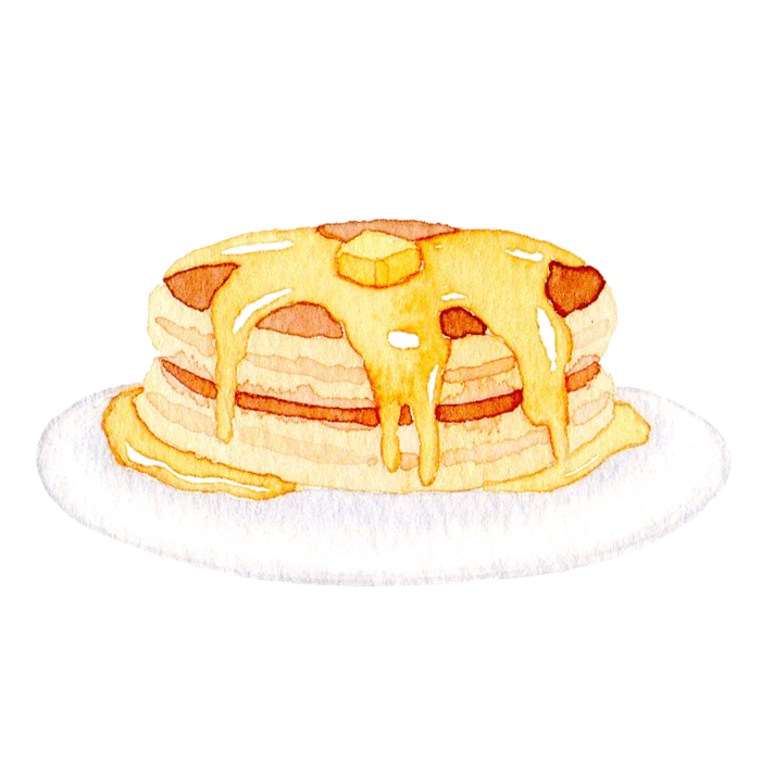 ホットケーキの水彩素材