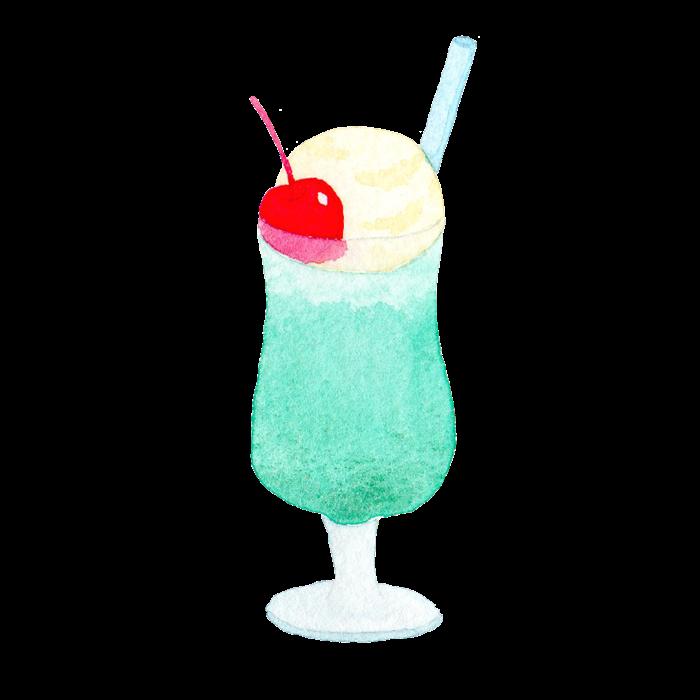 水彩イラストのクリームソーダー素材