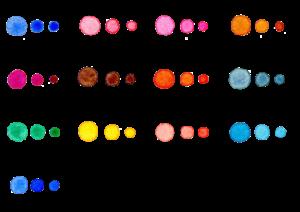 水玉の水彩イラスト素材セット