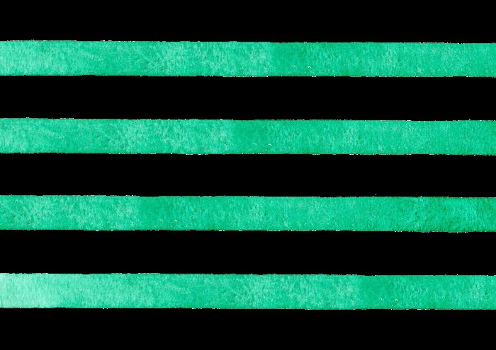 緑色のストライプの水彩素材
