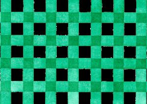 緑色のギンガムチェックの水彩素材