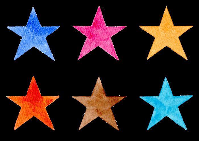 水彩イラストの星の素材