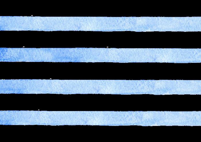青色のボーダーの水彩素材