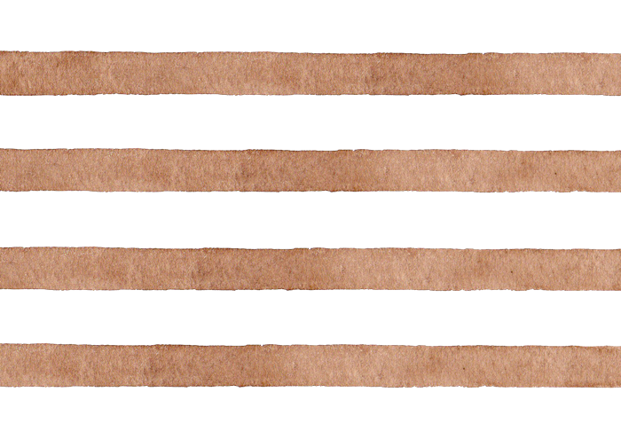 茶色のボーダーの水彩素材