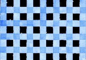青色のギンガムチェックの水彩素材