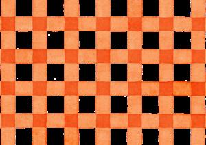 オレンジのギンガムチェックの水彩素材