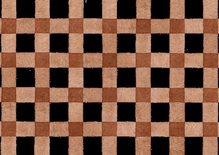 茶色のギンガムチェックの水彩素材