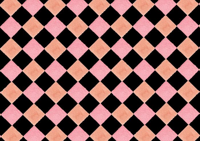 ピンクとオレンジ色のひし形の水彩素材
