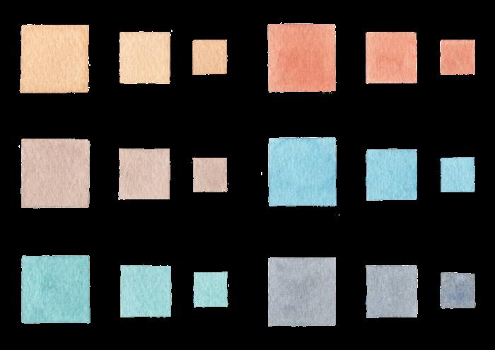 四角の水彩イラスト素材