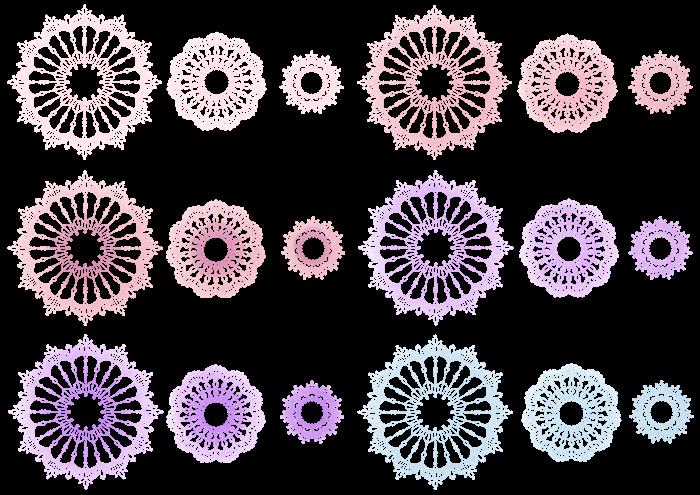 ピンク、紫、水色のレースのイラスト素材