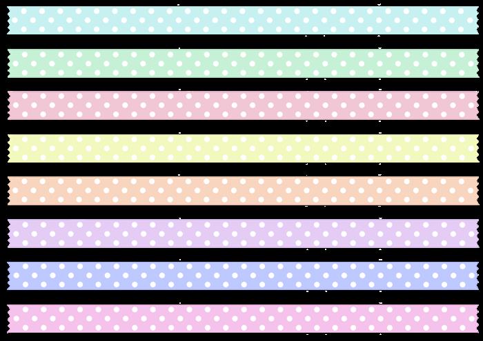 春色の水玉模様のマスキングテープの素材