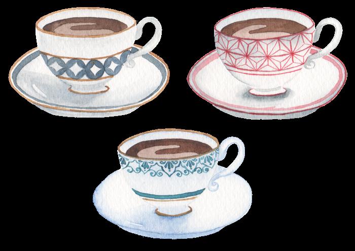 コーヒーの水彩イラスト素材