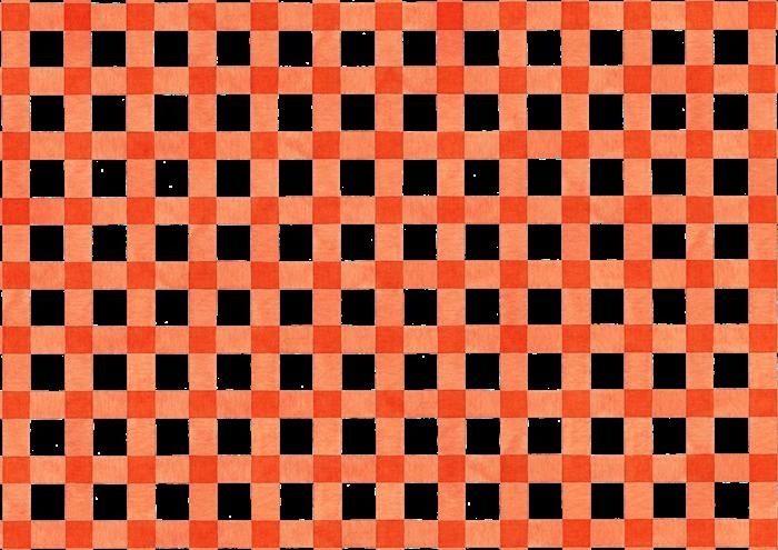 オレンジ色のギンガムチェックの水彩素材