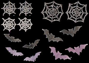 コウモリと蜘蛛の巣の水彩素材