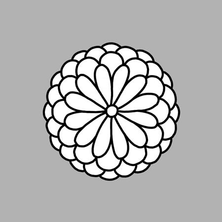 菊のイラスト線画素材