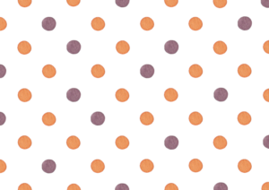 ハロウィンカラーの水玉の水彩イラスト素材