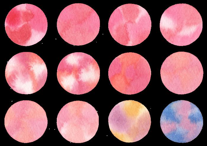 水玉の水彩イラスト素材