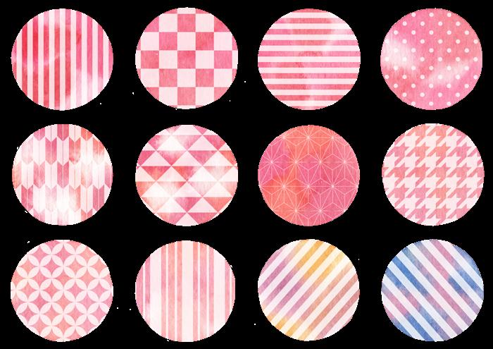 和柄の水玉の水彩イラスト素材
