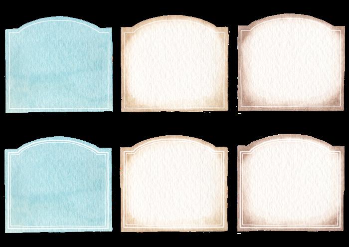 ラベルの水彩イラスト素材
