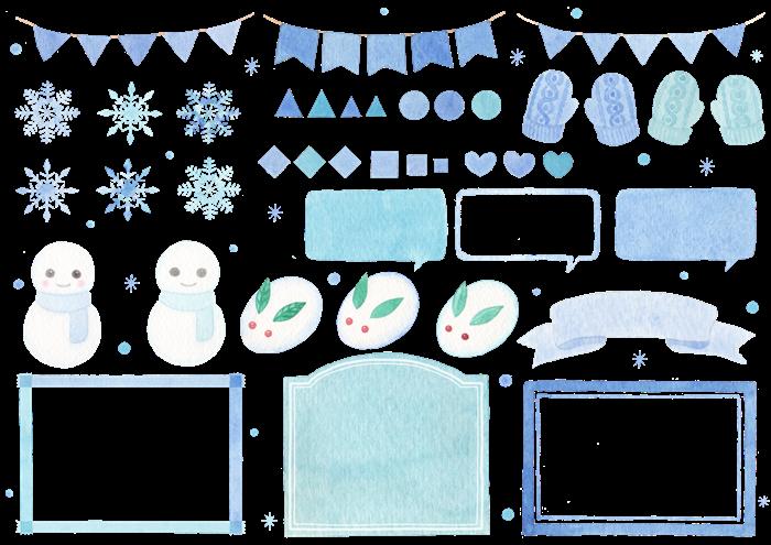 冬の水彩イラスト素材セット