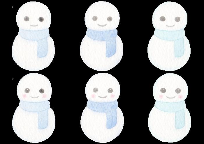 雪だるまの水彩イラスト素材