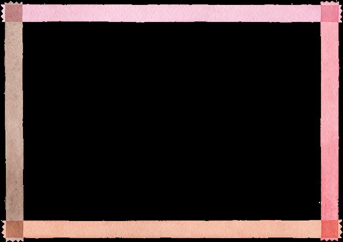 マスキングテープのフレームの水彩イラスト素材