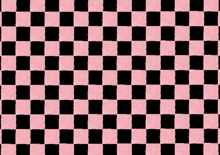 ピンクの市松模様の水彩イラスト素材
