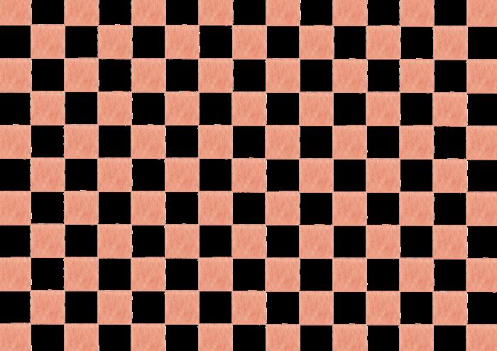 茶色の市松模様の水彩イラスト素材