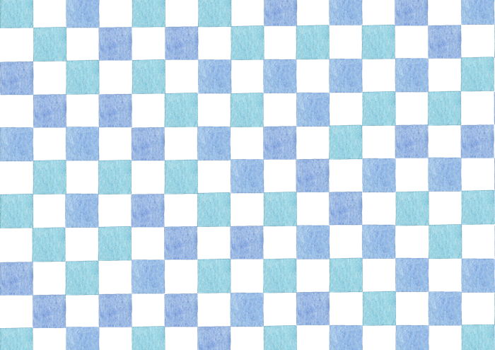 青色の市松模様の水彩イラスト素材
