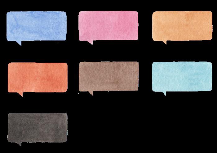 吹き出しの水彩イラスト素材