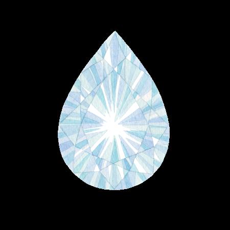 涙型の宝石の水彩イラスト素材