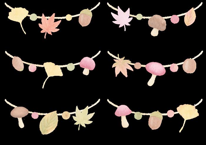 秋のガーランドの水彩イラスト素材